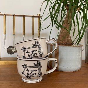 Pair of Molly Hatch ANTHROPOLOGIE Do Your Best Mug